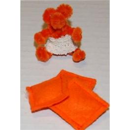 Nalle och kuddar Orange