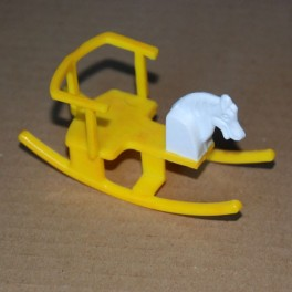 Gunghäst gul-vit plast