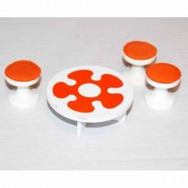 Lundby Barnmöbler orange med 3 pallar