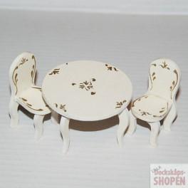 Lundby oldies rokoko vit Bord och 2 stolar