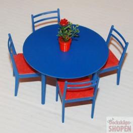 BRIO Bord och 4 stolar och blomma blått