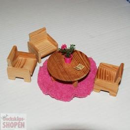 Lundby Lekrum bord 3 små fåtöljer mm cerise