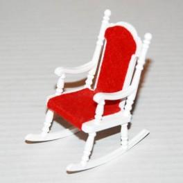 Lundby Gungstol vit med rött tyg